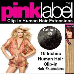 Clip in Human Hair Extensions Colour 1B